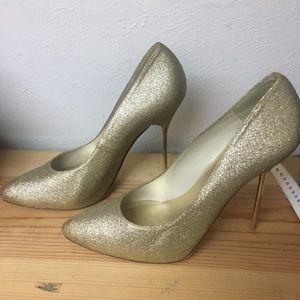 Gold Glitter Stiletto Stuart Weitzman Pumps